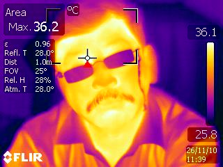 photo taken in thermal imaging camera